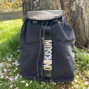 Moschino large logo black backpack